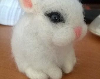 Needle felted white bunny