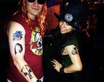 Axl Rose & Slash Printed Temporary Tattoos