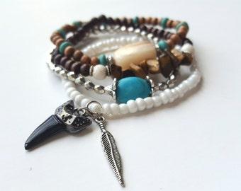 Boho beaded stack bracelet