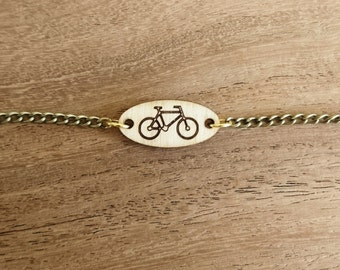 Wooden Lasercut Bracelet with Bicycle, Cycling, Sports, Outdoors, Nature, Travel