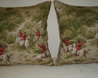 Two EQUESTRIAN fox hunt toile pillows with horse riders in red jackets