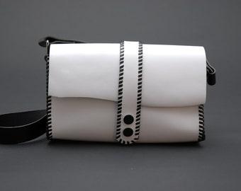 Handmade Black and White Leather Handbag