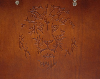 Tooled Lion Head Herman Oak Leather Briefcase