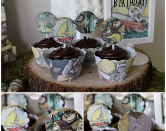 Where the wild things are cupcake toppers and stickers