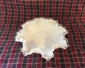 Fenton Silvercrest white bowl candy dish nut bowl