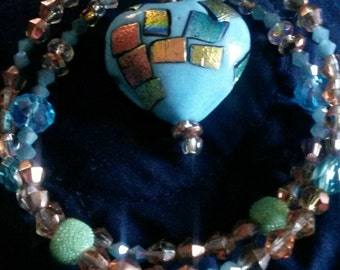 Dichroic puffed heart necklace