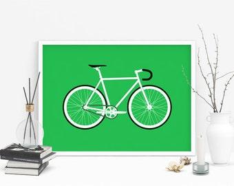 Bike Giclee wall art print, fixed gear (A4,A3,A2)