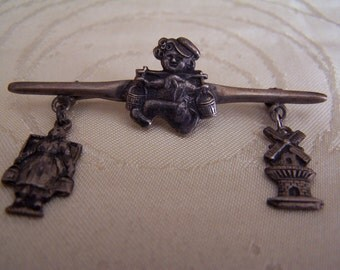 Vintage Silver Dutch Bar Brooch with Windmill & Milkmaid Charms