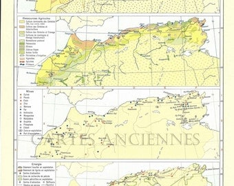 Old map of North Africa (1962) - vintage map original of Africa of the North dating from 1962 (21cm x 29, 7cm)-sold box