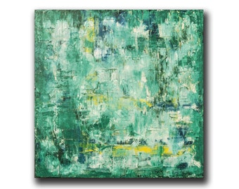 Abstracr Art / 20x20 Canvas Art / Original Modern Painting Green Texured ABSTRACT PAINTING Oil on Canvas Moder Art Green Abstract N. Prutski