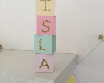 Pastel name blocks
