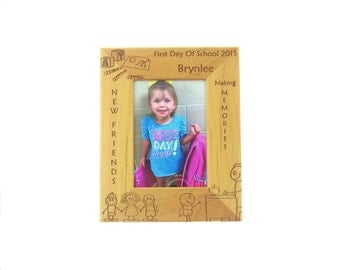 Elementary School Picture Frame - 8x10 5x7 or 4x6 red alder wooden picture frames - School Picture Frame - Personalized with Your infor