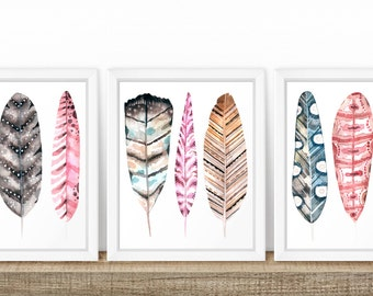 Watercolor Arrow Art, Set of Three, Digital Download, Set of 3