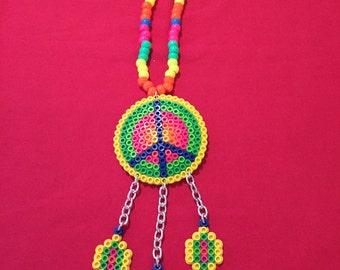 Dream catcher peace sign perler bead/kandi necklace