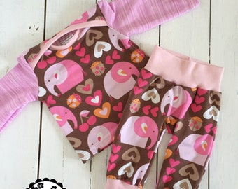 First set size 56 clothing, girl, baby, set, pink elephants, bloomers,