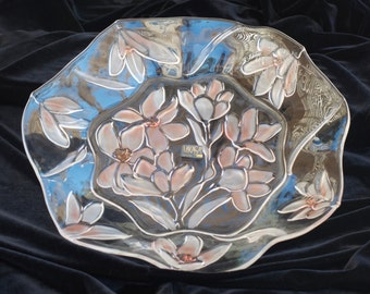 """Mikasa, Crystal Hostess Platter , Passion Flowers, 12.5 """"inch hostess platter, Made in Germany, #SA856/ 313"""