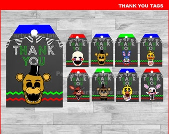 Five nights at freddy's Thank you Tags Instant download, Five nights at freddys Chalkboard tags, FNaF Thank you Tags