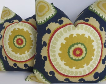 Blue Yellow Suzani Pillow Cover- Suzani Pillow Covers- Blue Pillow Covers- Yellow Red Pillow Covers- Blue Pillow Covers- 18x18 - Pillows