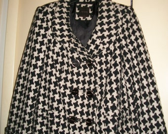 Women's Vintage The Limited Black/White Herringbone Coat Size M