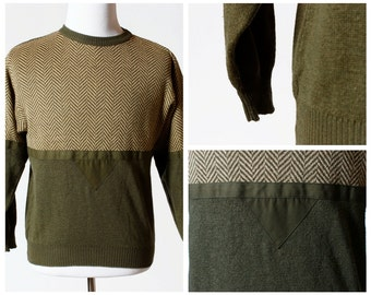 Vintage Men's Sweater - With Triangle - Herringbone 80s Retro Medium M
