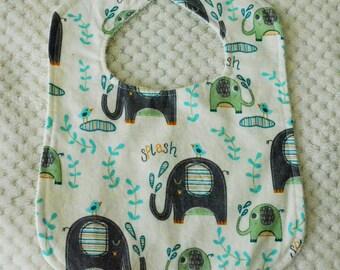 Elephant Patterned Baby Bib, Elephant Bib, Elephant Baby Bib, Green Bib, Blue Bib, Boys Bib, Baby Boy Bib