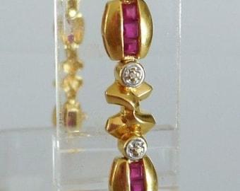 Gold 18 CT, Ruby & diamond bracelet
