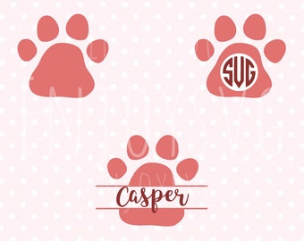 Paw svg Paws Monogram SVG Paw print svg Cut Files Paw SVG cut files for Cricut and Silhouette Vinyl Cutters Cutting Files SVG file Png Dxf