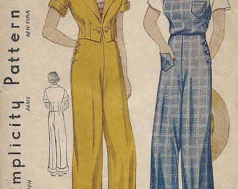 1930s Vintage Sewing Pattern B34 OVERALLS TROUSERS & JACKET (1259R)