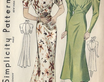 1930s Vintage Sewing Pattern B36 DRESS (1297) Simplicity 2309