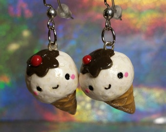 White Ice Cream Cone, Ice Cream Cone Earrings, Earrings, White Ice Cream, Cone, Ice Cream Cone