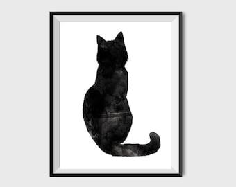 Cat Print Watercolor Cat Cat Wall Art Cat Nursery Cat Wall Decor Cat  Painting Cat Printable