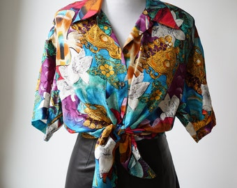 Vintage Colorful Novelty Fish Print Silk Blouse/ Under the Sea/ Gold Medallion