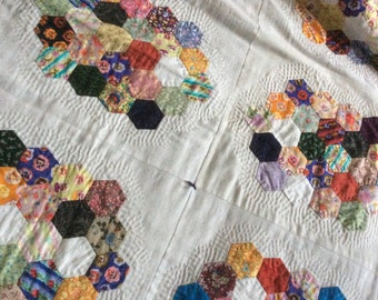 cotton patchwork homemade quilt with hexagon design
