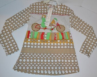 Vintage New 1970's 100% Polyester Old BICYCLE Scene Long Sleeve Tan Shirt Blouse   Large