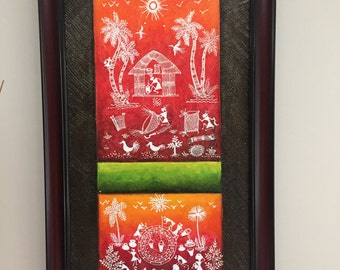 Original Warli Art painting by our shop's own Artisan - Acrylic on Canvas in Red, Orange & Green on a Brown background ideal Christmas gift