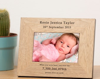 Personalised Engraved When you were born 7x5 Wood Photo Frame