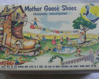 Vintage baby shoes with adorable box ~ Mother Goose ~ nursery decor
