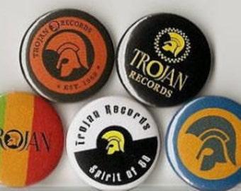 "5 x Trojan Records 1"" Pin Button Badges ( 2 tone ska punk rock skinhead oi )"