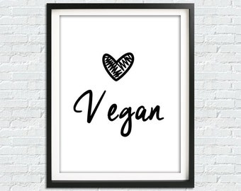 Vegan Print, Vegan Art, Vegetarian Wall Art, Vegetarian Print, Printable Poster, Kitchen Wall Art, Vegan Home Decor, Lettering Print Art