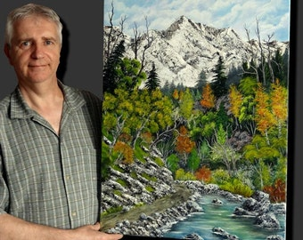 """Canvas painted in acrylic, mountain, with lined a path, """"Mountain path"""" river landscape"""