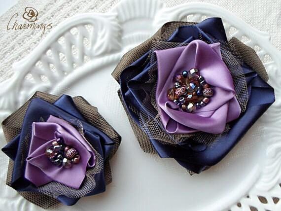Aubergine Rose Fabric Brooch, Purple Flower Hair Pin, Bridesmaid Hair Accessory, Bridal Wedding Prom Flower, Corsage, Flower Girl Hair Clip