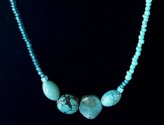 Aqua Beaded Necklace / African Turquoise /  Chunky Stone Necklace / Hippie Necklace / Natural Stone Jewelry / Boho Jewelry /NA61040