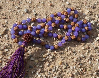 108+Rudraksha Guru Mala bead,Rudraksha,Violet Jade