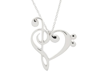Treble and Bass Clef Heart Pendant