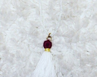 Long Customizeable Beaded Necklace with a Handmade Customizeable Tassel