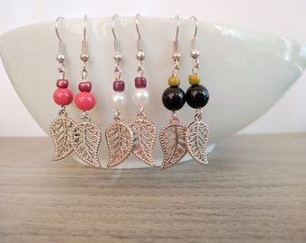 Earrings leaf, yoga earrings
