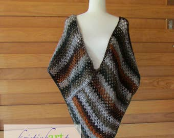 "Cozy Fall Poncho / Deep Front and Back ""V"" / Handmade Crochet / Brown / Gray / Orange / Black / Women's Gift Ideas / Acrylic / Alpaca / Wool"