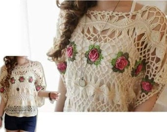 Boho Crochet women  Lace Floral  Blouse