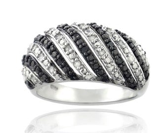 Genuine 0.50 CTW Black and White Diamond Ring 14K White Gold Finish Size 7