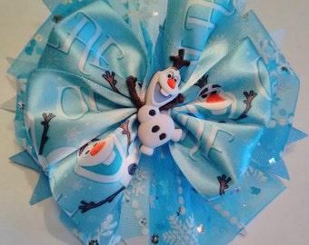 Olaf Hair Bow, Frozen Hair Bow, Glitter Hair Bow, Sparkle Hair Bow, Stacked Hair Bow.